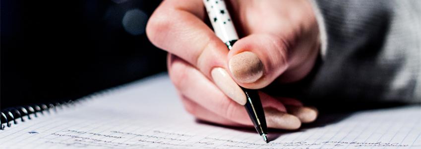 Hand writing diary