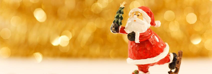 Santa Claus on ice skates