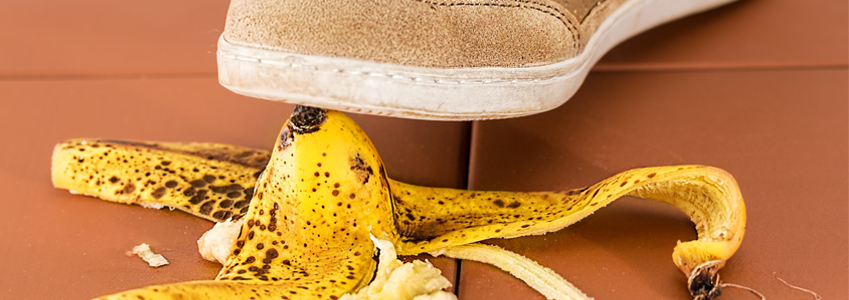 A foot about to slip on a banana