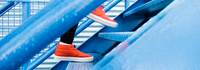 A person walking up steps